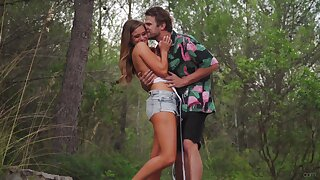 Insolent scenes for outdoor sexual recreation for a slim honey